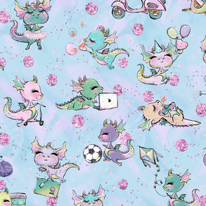 PRE ORDER - Baby Dragons Blue - Digital Fabric Print