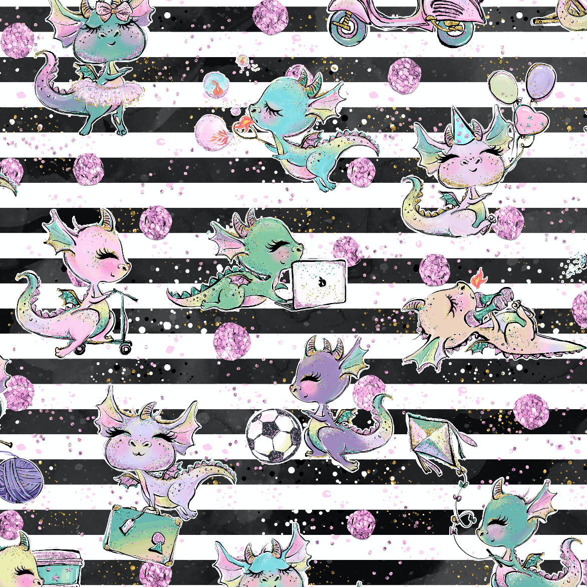 PRE ORDER - Baby Dragons Black Stripe - Digital Fabric Print