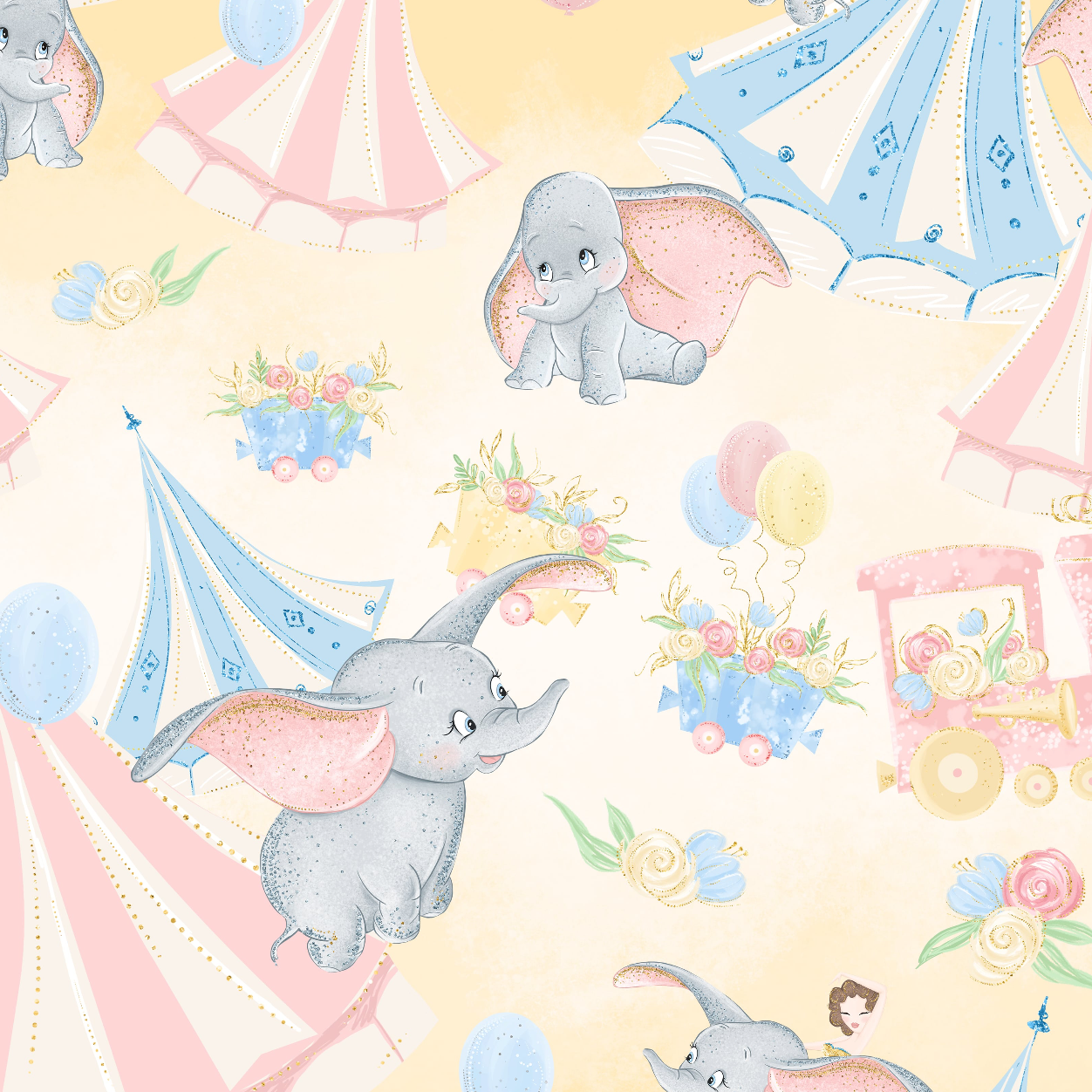PRE ORDER - Baby Dumbo Yellow - Digital Fabric Print