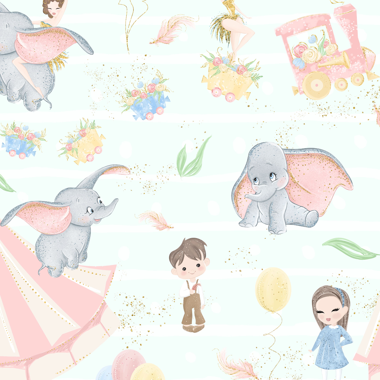 PRE ORDER - Baby Dumbo Blue - Digital Fabric Print