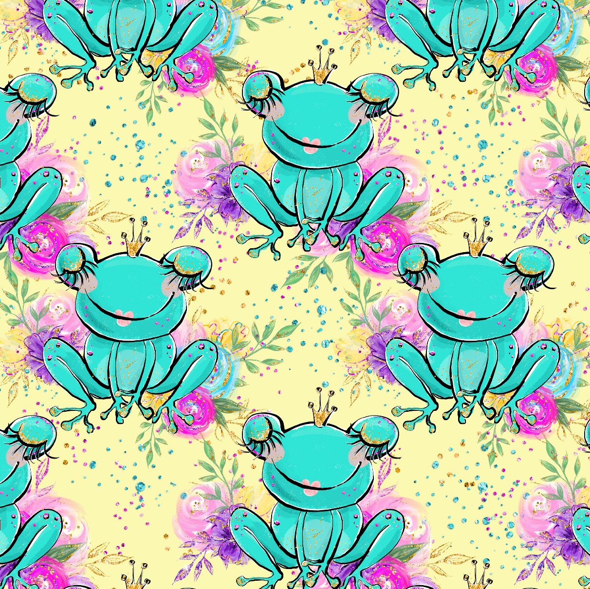 PRE ORDER - Land of Magic Yellow Frogs - Digital Fabric Print