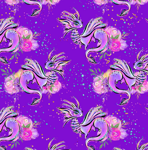 PRE ORDER - Land of Magic Purple Dragons - Digital Fabric Print