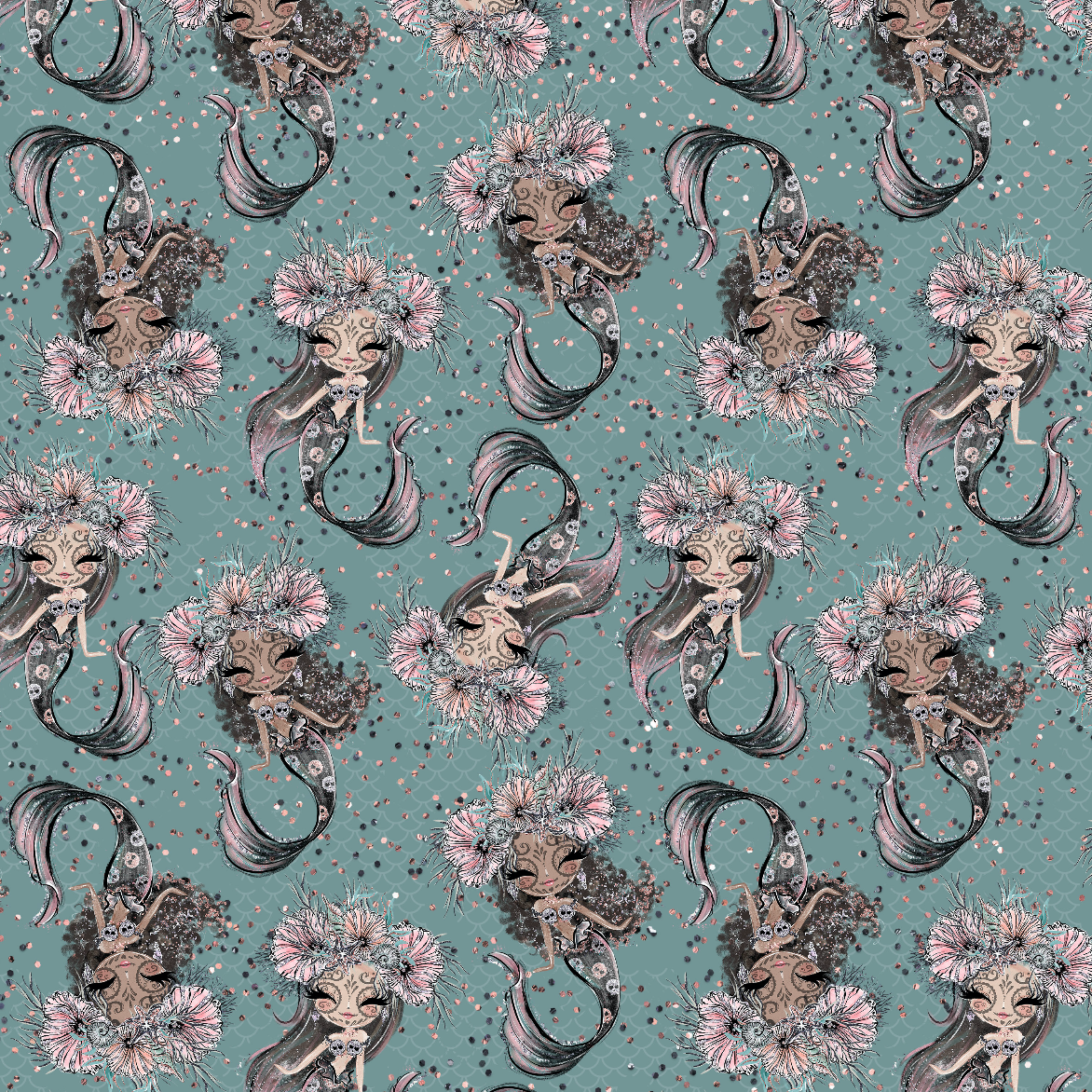 PRE ORDER - Halloween Mermaids Green - Digital Fabric Print