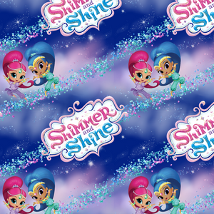 PRE ORDER - Shimmer & Shine Dark Blue - Digital Fabric Print