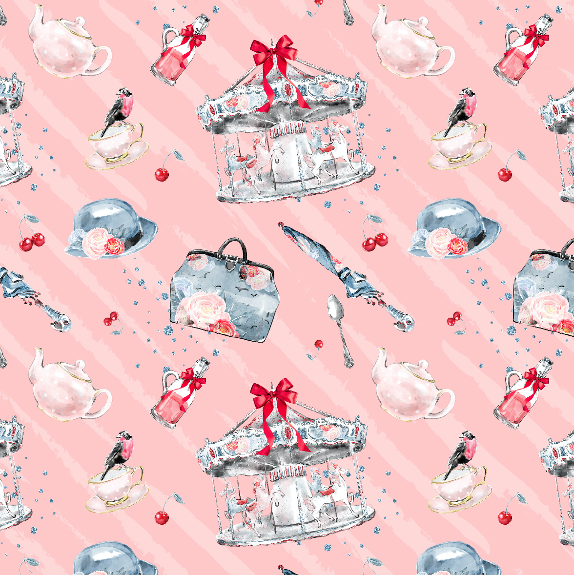 PRE ORDER - Mary Poppins Pink Carousel - Digital Fabric Print