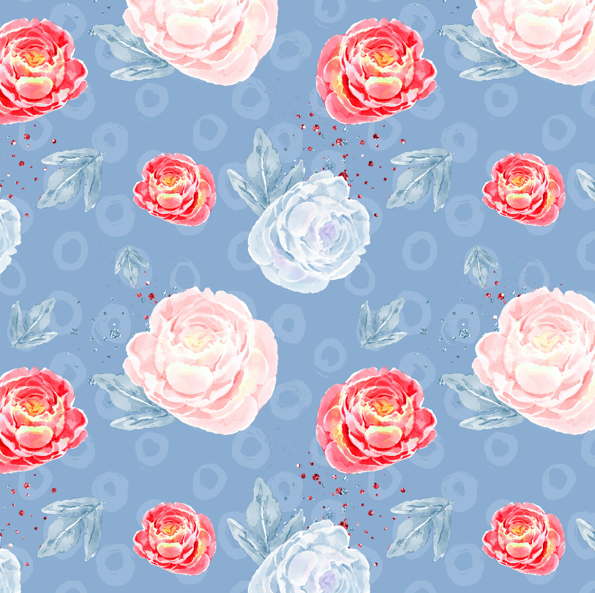 PRE ORDER - Mary Poppins Blue Floral - Digital Fabric Print
