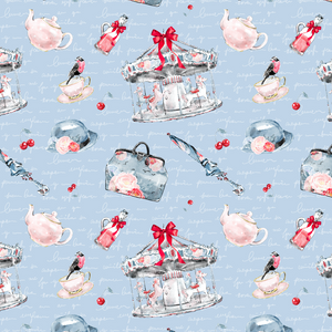 PRE ORDER - Mary Poppins Blue Carousel - Digital Fabric Print