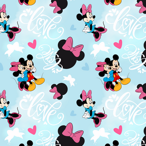 PRE ORDER - Minnie in Love light blue - Digital Fabric Print