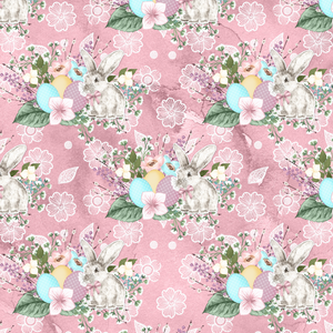 IN STOCK - Vintage Easter Garden Pink Bunnies - WOVEN COTTON