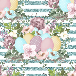 PRE ORDER - Vintage Easter Garden Blue Eggs - Digital Fabric Print