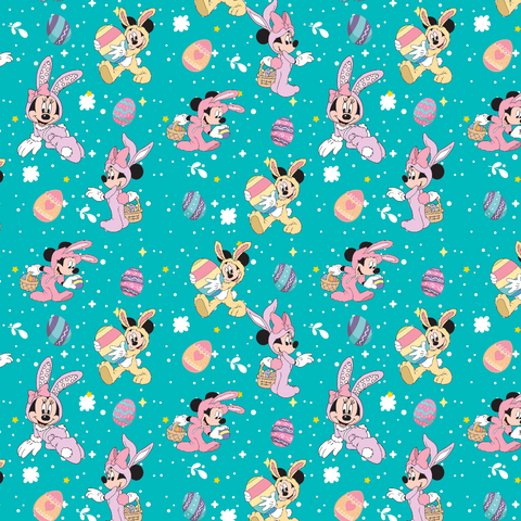 IN STOCK - Minnie Bunny Aqua - WOVEN COTTON