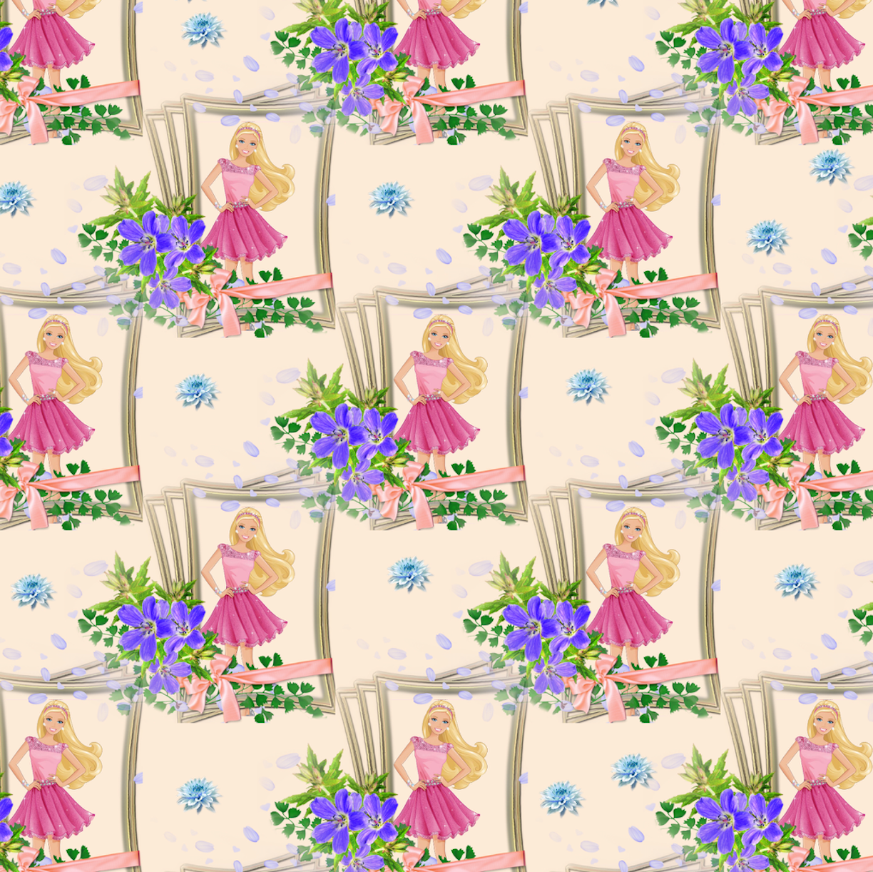 PRE ORDER - Purple Floral Barbie - Digital Fabric Print