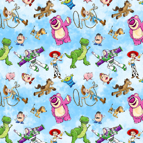 PRE ORDER - Toy Story Characters Blue - Digital Fabric Print