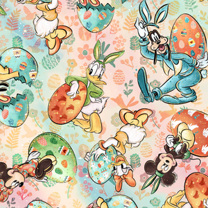 IN STOCK - Minnie Easter Floral Characters - WOVEN COTTON