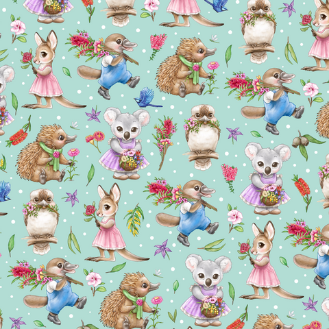 PRE ORDER - Aussie Animals Green - Digital Fabric Print