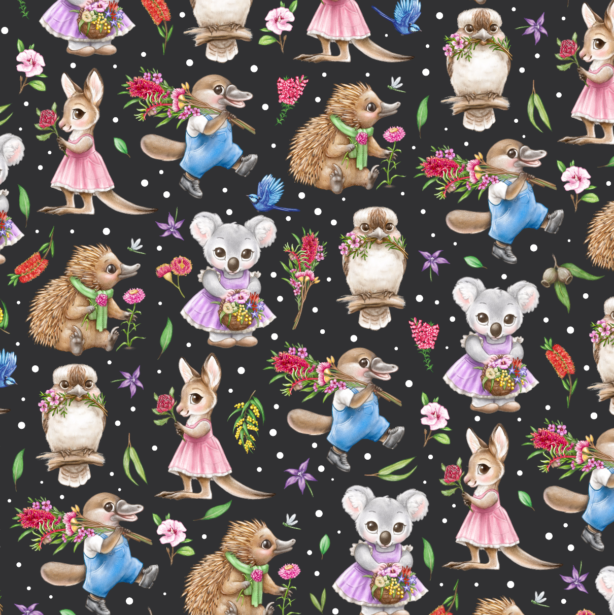 PRE ORDER - Aussie Animals Black - Digital Fabric Print