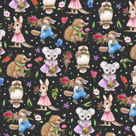 IN STOCK - Aussie Animals Black - WOVEN COTTON