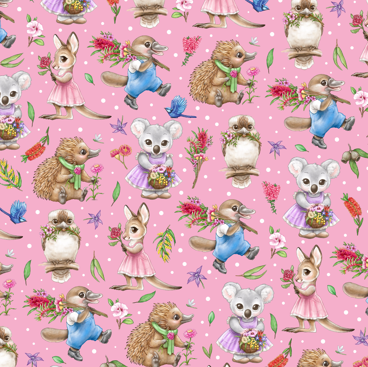 PRE ORDER - Aussie Animals Pink - Digital Fabric Print