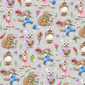 PRE ORDER - Aussie Animals Grey - Digital Fabric Print