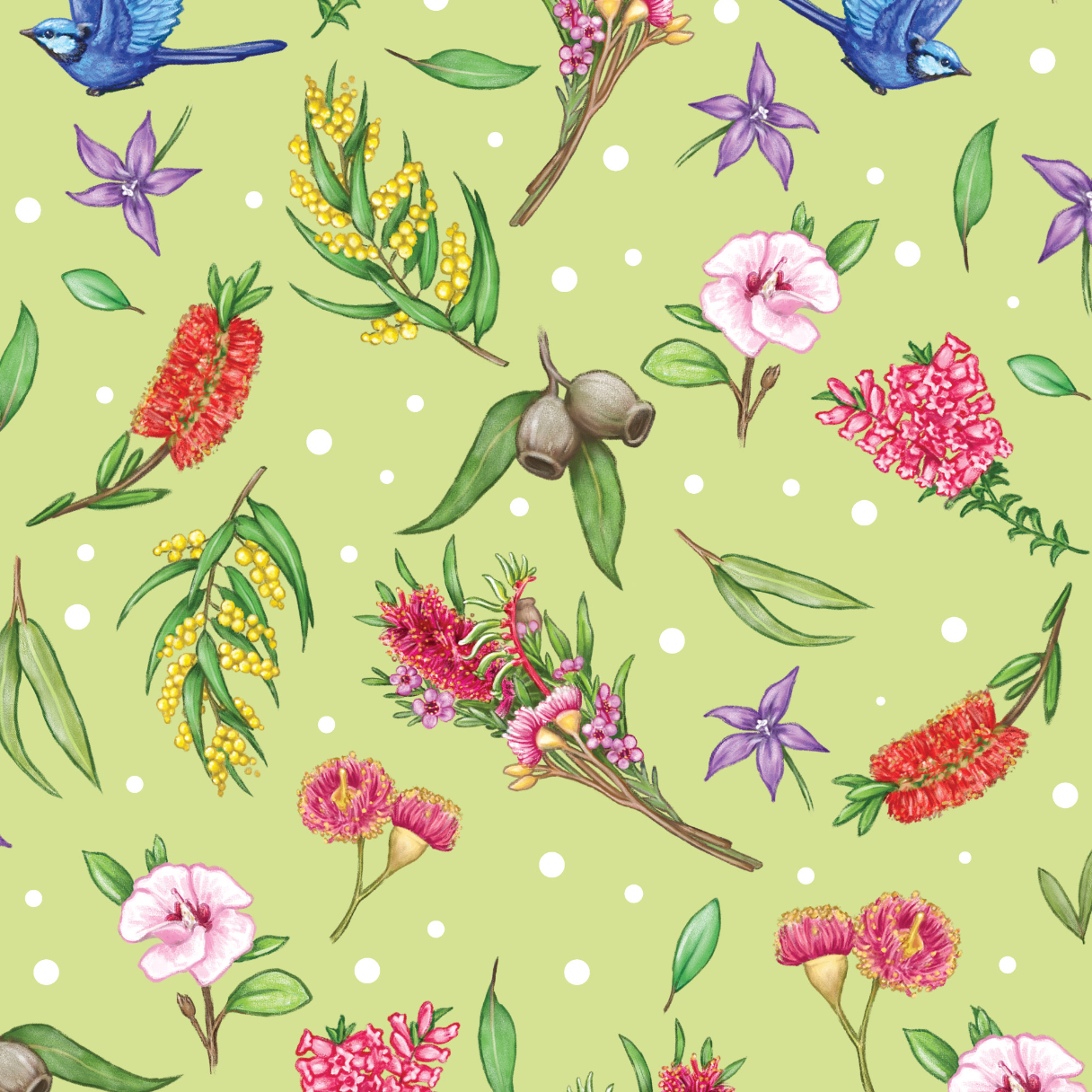 PRE ORDER - Aussie Garden Green - Digital Fabric Print