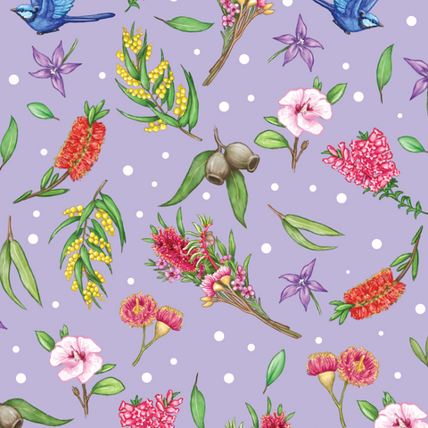 IN STOCK - Aussie Garden Purple - WOVEN COTTON