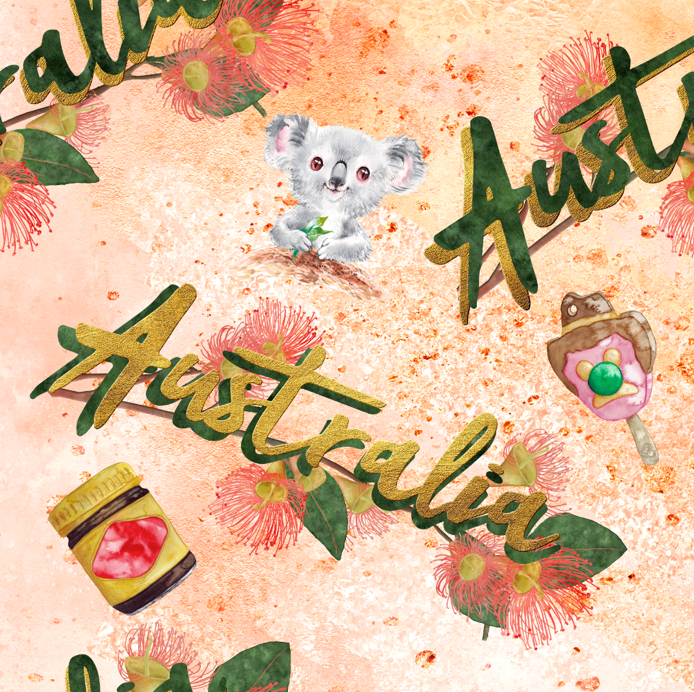 PRE ORDER - Australiana Orange - Digital Fabric Print
