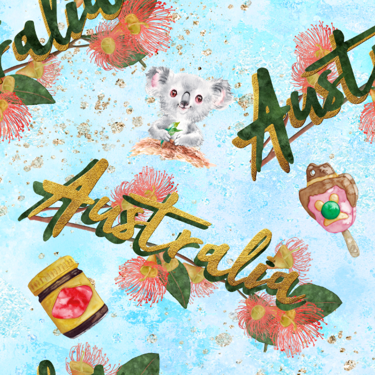 PRE ORDER - Australiana Blue - Digital Fabric Print