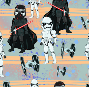 PRE ORDER - Star Worlds Darth Black and White - Digital Fabric Print