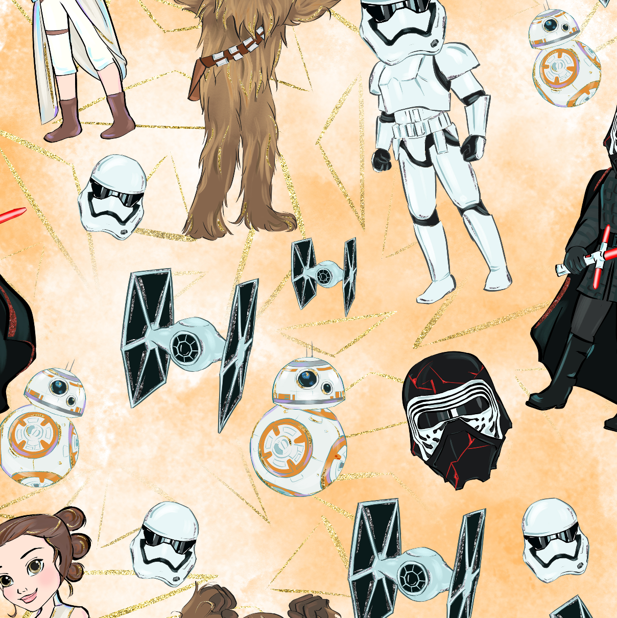 PRE ORDER - Star Worlds Characters Orange - Digital Fabric Print