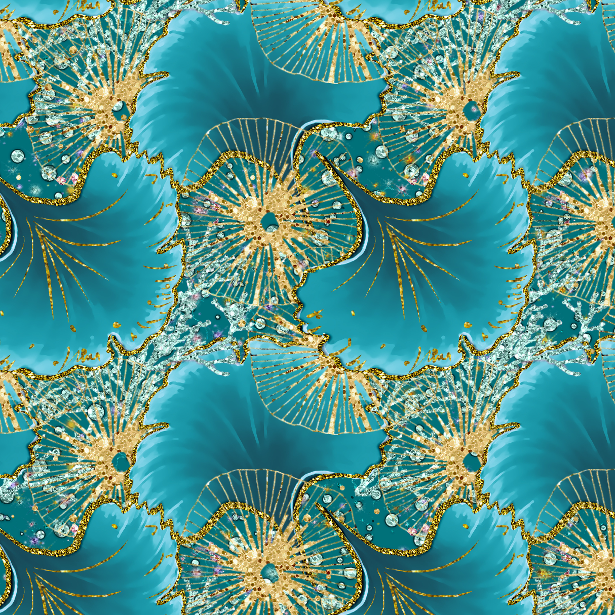 PRE ORDER - Magical Mermaids Green Shells - Digital Fabric Print
