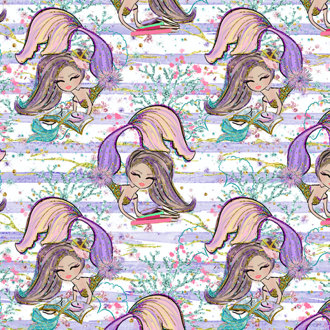 PRE ORDER - Magical Mermaids Purple - Digital Fabric Print