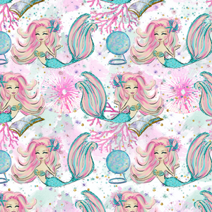 PRE ORDER - Magical Mermaids White - Digital Fabric Print