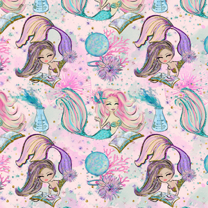 PRE ORDER - Magical Mermaids Light Pink - Digital Fabric Print
