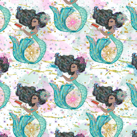PRE ORDER - Magical Mermaids Green - Digital Fabric Print