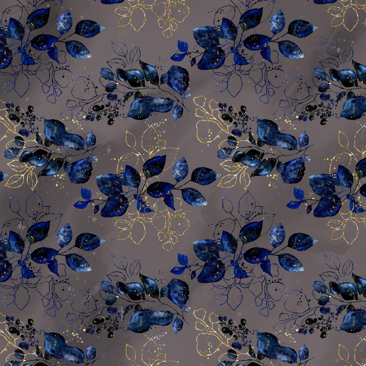 PRE ORDER - Maleficent Navy Floral - Digital Fabric Print