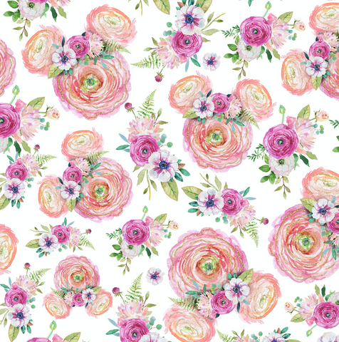 PRE ORDER - Minnie Mouse Florals - Digital Fabric Print