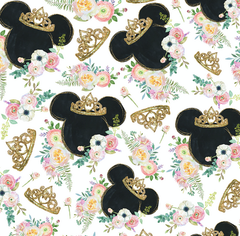 PRE ORDER - Minnie Mouse Golden Crown - Digital Fabric Print