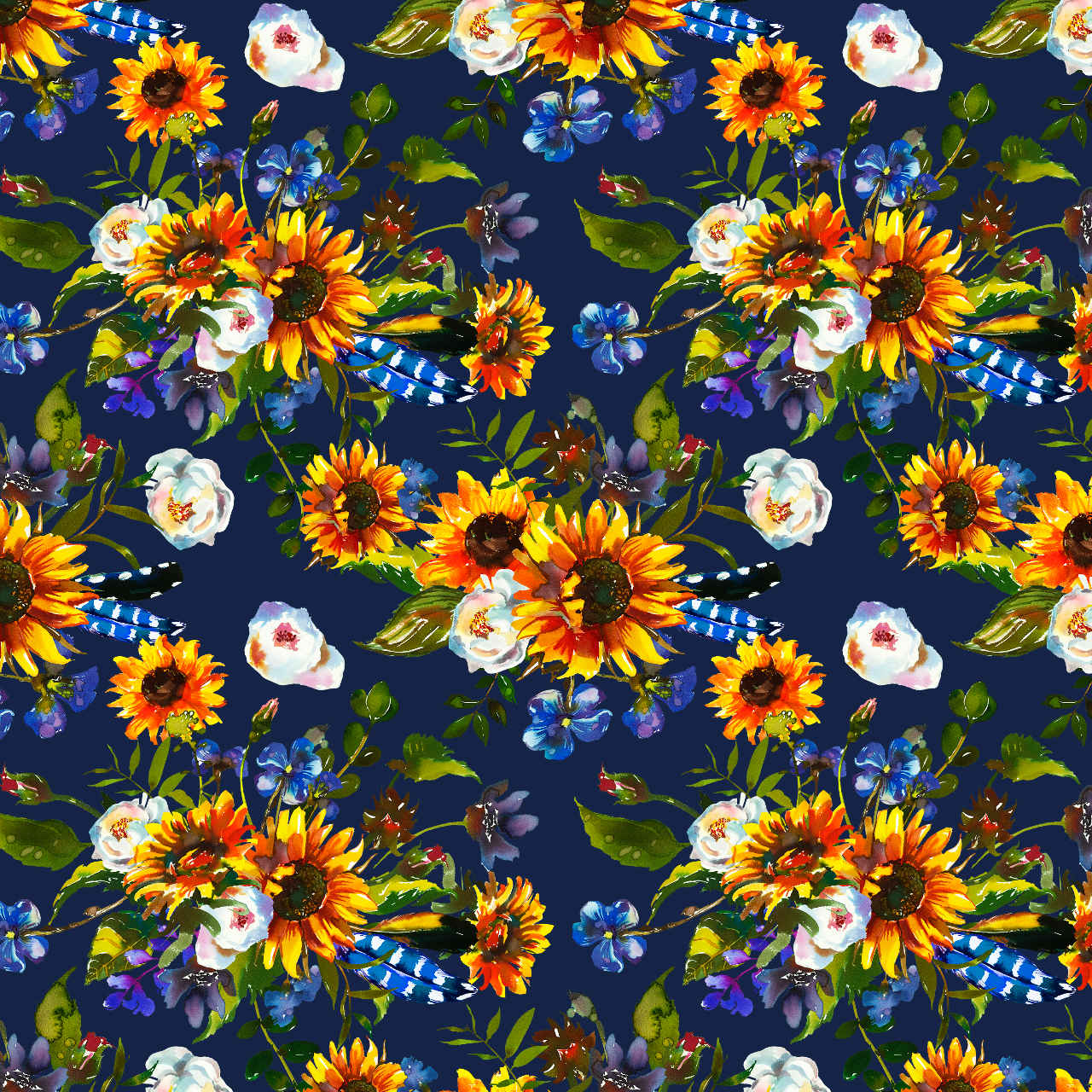 IN STOCK - Clucker Sunflower Navy - Minky