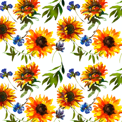 IN STOCK - Clucker Sunflower White - COTTON LYCRA