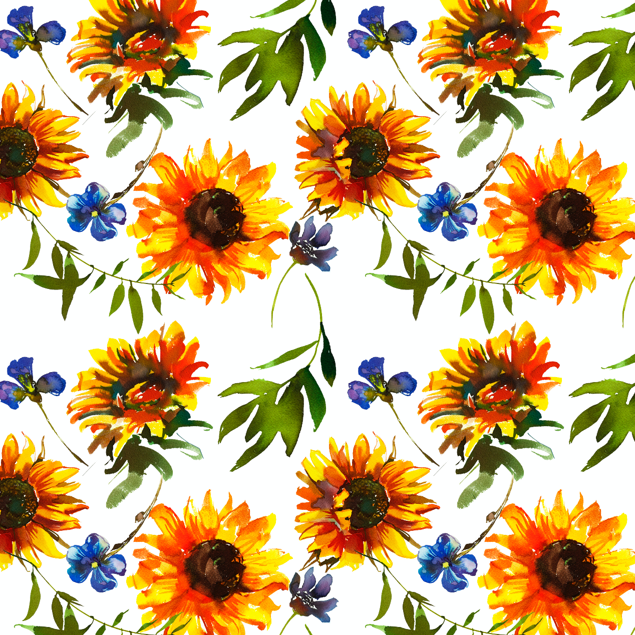 PRE ORDER - Clucker Sunflower White - Digital Fabric Print