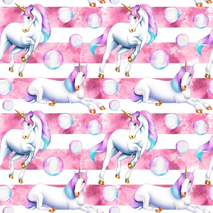 PRE ORDER Unicornia Pink Stripes - MM Fabric Print