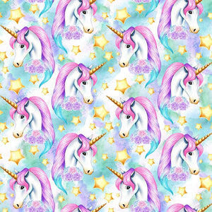 PRE ORDER Unicornia Aqua Faces - MM Fabric Print