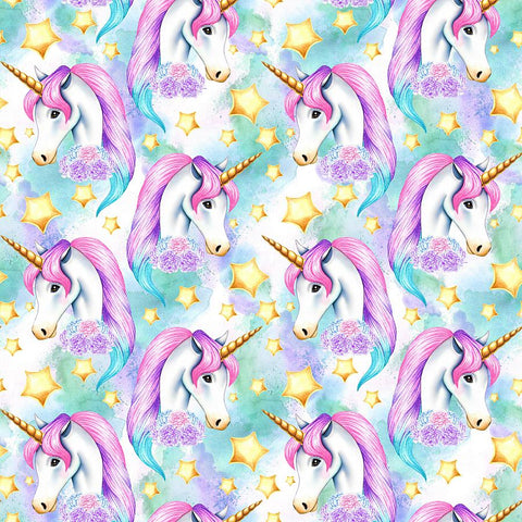 IN STOCK - Unicornia Aqua Faces - WOVEN COTTON