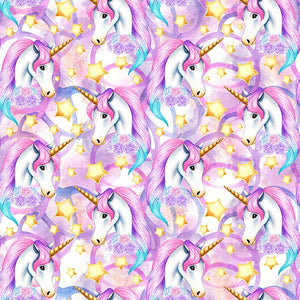 IN STOCK - Unicornia Purple Faces - MM Fabric Print
