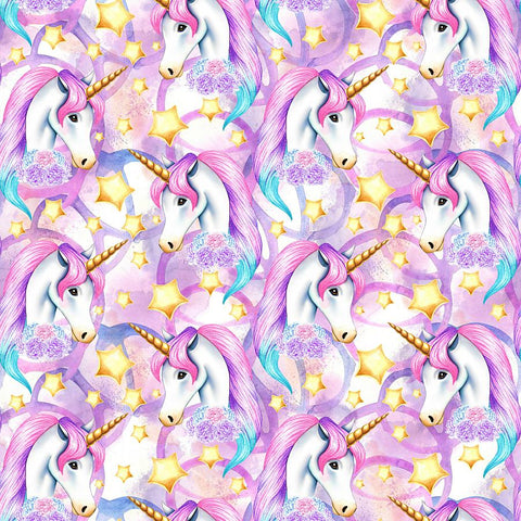 PRE ORDER Unicornia Purple Faces - MM Fabric Print