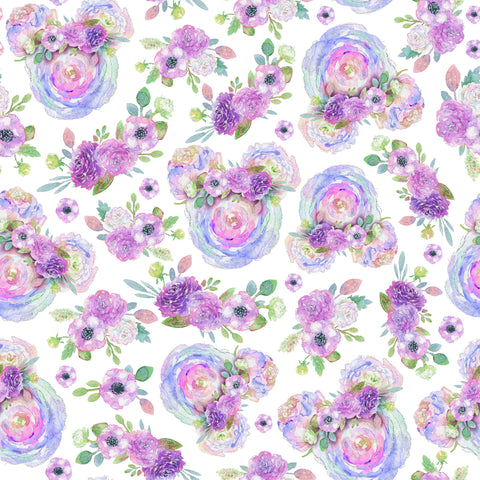PRE ORDER - Minnie Floral Ears Purple - Digital Fabric Print