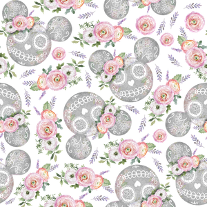 PRE ORDER - Minnie Halloween Grey - Digital Fabric Print