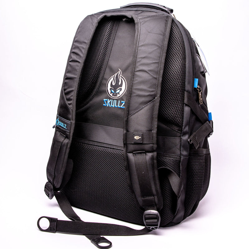 Skullz Laptop Backpack SGGBP01 with USB charger port and velcro front panel. Fits most 17 inch laptops