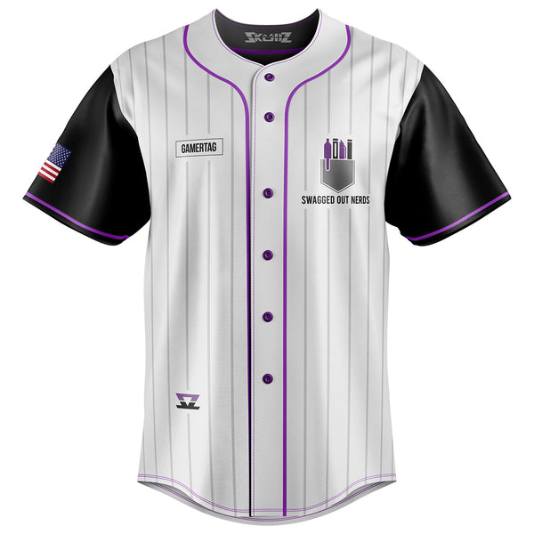 Swagged Out Nerds - PRO Skullz Jersey - White Button Up
