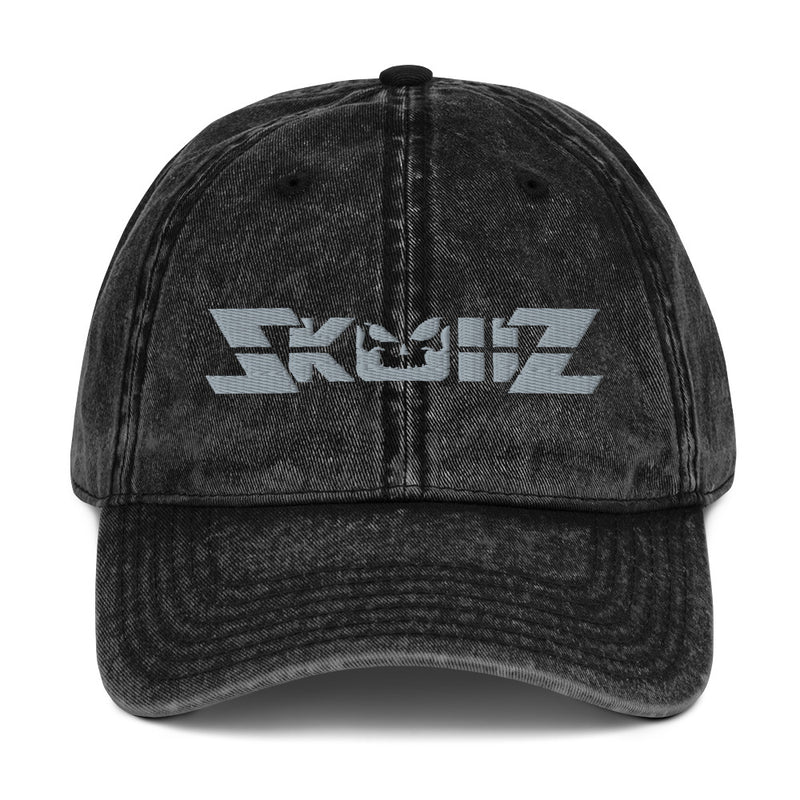 Skullz Vintage Cotton Twill Cap - Gray on Black